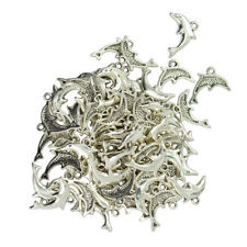 50pcs Silver Alloy Nautical Dolphin Charms Pendants Jewelry Making Findings