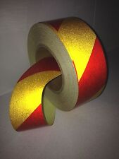 Hi-Vis Red/Yellow Striped Adhesive Vehicle Reflective Safety Tape 50mm x5m Roll