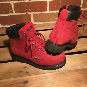 Ladies Red Safety Toe Cap Work Boots - Outback Alexis