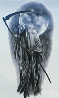 Grim Reaper Death Muerte Gothic Fantasy Temporary Tattoo Waterproof 10x6cm UK
