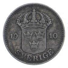 SILVER Roughly the Size of a Dime 1910 Sweden 25 Ore World Silver Coin *963