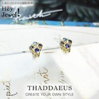 Women Royalty Stud Earrings With Colorful Zircon Stones 925 Sterling Silver Gold