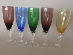 Set of 5 Harlequin Etched Wine Stem Glasses