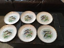 VINTAGE HAND PAINTED FRENCH FISH DINNER PLATES 11 TOTAL GILDED