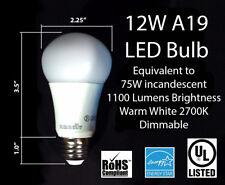 Two 120V LED Bulb 12W A19 75W Eqv Dimmable 1100 Lumens 2700K Warm Light E27 E26