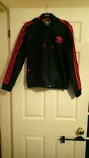 Adidas originals hooded, dark blue denim jacket, pink stripes, womens size 16