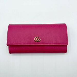 Gucci Marmont Women's Hot Pink Leather Gold GG Continental Wallet 456116 5752