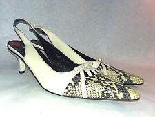 VIA SPIGA Vero Cuoio Leather Rare Slingback Pumps, Cream & Snakeskin Look Sz 8.5