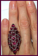 LONG ! Orissa Rhodolite Garnet Ring 10.65cts Sterling Silver 925 size 6 or 7