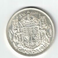 CANADA 1940 50 CENTS HALF DOLLAR GEORGE VI CANADIAN .800 SILVER COIN