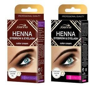 Joanna Henna Tint Black Brown Cream Eyebrow Eyelash Full Dye Lash Kit SET 15ml