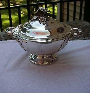 Good Large FRENCH 950 Silver LIDDED SERVING DISH-English Import-NR