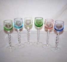 SET of 6 ELEGANT TWISTED STEM MULTI-COLOR 1 oz LIQUEUR CORDIALS