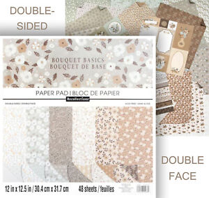 """Recollections BOUQUET BASICS 12x12"""" Paper Pad 36 Sheets Double-Sided Scrapbook"""