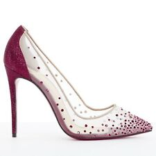 new CHRISTIAN LOUBOUTIN Follies Strass red crystal glitter bridal heels EU41