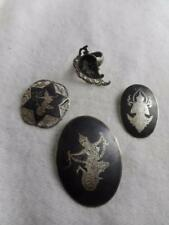 LOT OF 4 SIAM STERING SILVER JEWELRY - 3 PINS & 1 ADJUSTABLE RING