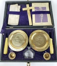 Vintage Antique Travel Catholic Priest Holy Communion Kit Last Rites