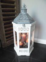 XL Holz Laterne Windlicht Metalldach weiß 63 cm 6eckig - Landhaus Shabby Chic