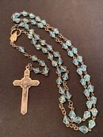 Rosary Robins Egg Blue Crystal Beads Catholic Religious Christian Jesus Vintage