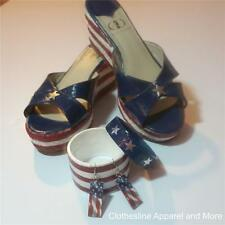 Hand Painted Women's 9 Wedge 4th of July Shoes Red White Blue Flag Bracelets Ear