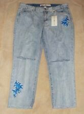 Womens Juniors Ashley Mason Jeans Embroidered Cropped Destroyed 13 NWT