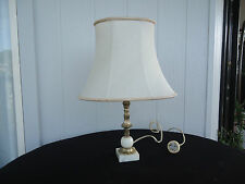 vintage marble & brass lamp cream shade bedside table
