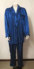 Victoria's Secret Blue Satin Striped Pajama Lounge Wear SleepWear sz Small VGUC