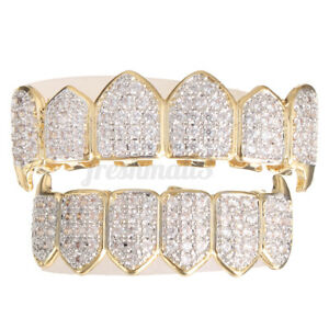 Gold/Silver with Plated Top&Bottom Grills Mouth Teeth Grill Party Fashio