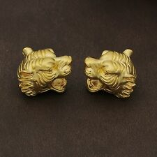 1pcs Pure 24K Yellow Gold Best Craft 3D Fashion Tiger Head Bead Pendant 1.1g