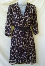 Grace Hill Size 10 Wrap Dress Brown Black 3/4 Slv Corporate Work Dinner Travel