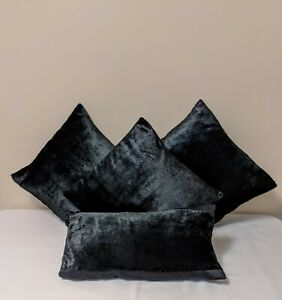 Black Faux Fur & Polyester/Silk Cushion Covers and Pillow Cover Set | Halloween