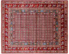 "Handmade Antiqued Pazyryk Historical Design Wool Rug 8' 2"" X 10' 2"" - Q7664"