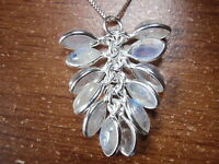 Blue Moonstone Cluster Marquise 925 Sterling Silver Pendant