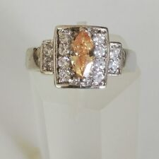 Handmade Fancy Peach Square Shaped Cubic Zirconia Statement Ring Size 6.5