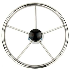 Boat Steering Wheel Stainless Steel Marine Steering 5 Spoke 25 Degree 13.5inch