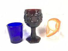 Avon Cape Cod Ruby Red Glass Footed Stemware, Vtg Orange Peel Glass, Blue Glass.