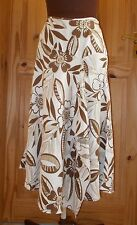 MONSOON ivory cream brown floral LINEN midi riding skirt waterfall asymmetric 10