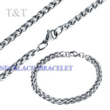 T&T 6mm 316L Stainless Steel WHEAT Chain Necklace with Bracelet SET