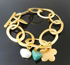 Gold 24K Plated Cut Out Links Bracelet With Turquoise Pearl Stone Flower Charms.