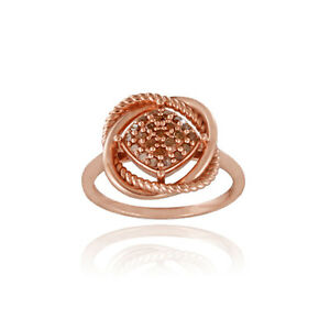 18K Rose Gold over 925 Silver 1/4ct Red Diamond Love Knot Ring Size 6