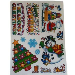 Vtg Christmas Window Clings Unused REUSABLE Christmas Tree Snowman Gingerbread