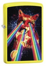 Zippo 29614 Pizza Cat With Rainbow Neon Yellow Finish Full Size New Lighter