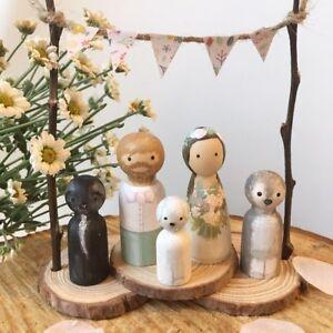 Custom Wedding Cake Toppers Peg Dolls Rustic Decor Bride Groom Personalised Dog