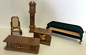 Vtg Wooden dollhouse Furniture Lot  grandfather clock rocking chair couch chest