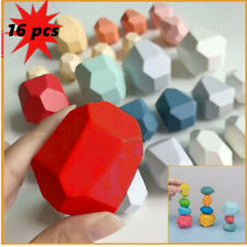 16 Pcs Baby Toy Wooden Toys Colored Stacking Balancing Stone Building Blocks Uk