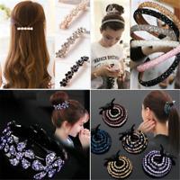 Women Bling Rhinestone Headband Hair Clip Elastic Hairband Hair Accessory JT