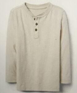 Gymboree Boys Size 4 Shirt Cream Henley Long Sleeve Rising Stars MSRP $24 NWT