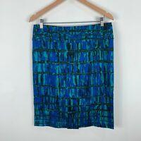 Jacqui E Womens Skirt Size 12 Blue Abstract Straight Zip Closure Retro Design