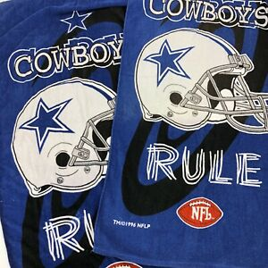 "VTG RARE 90s 1996 Dallas Cowboys Rule NFL Beach Bath Towel 30"" x 60"" Lot of 2"
