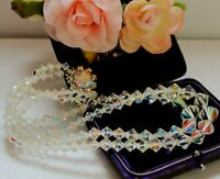 VINTAGE FACETED CRYSTAL GLASS BEADED NECKLACE WITH AURORA BOREALIS SHEEN